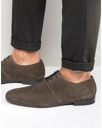 Chaussures derby en daim gris foncé Hugo Boss
