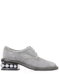 Chaussures derby en daim grises Nicholas Kirkwood