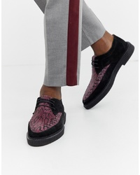 Chaussures derby en daim imprimées noires House of Hounds