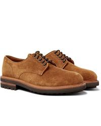 Chaussures derby en daim marron clair Brunello Cucinelli