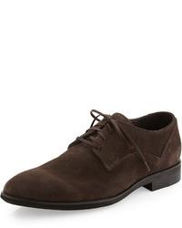 Chaussures derby en daim marron foncé