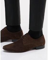 Chaussures derby en daim marron foncé Asos