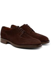 Chaussures derby en daim marron foncé Edward Green