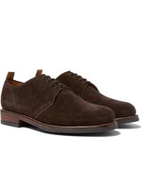 Chaussures derby en daim marron foncé Grenson