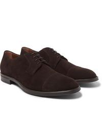 Chaussures derby en daim marron foncé Hugo Boss