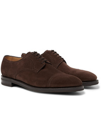 Chaussures derby en daim marron foncé John Lobb