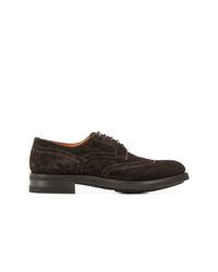Chaussures derby en daim marron foncé Santoni
