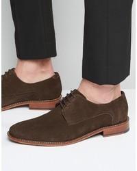 Chaussures derby en daim marron foncé Ted Baker