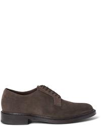 Chaussures derby en daim marron Brioni
