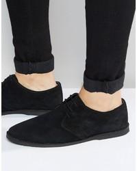Chaussures derby en daim noires Asos
