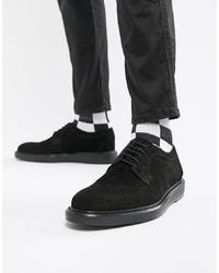 Chaussures derby en daim noires Dead Vintage