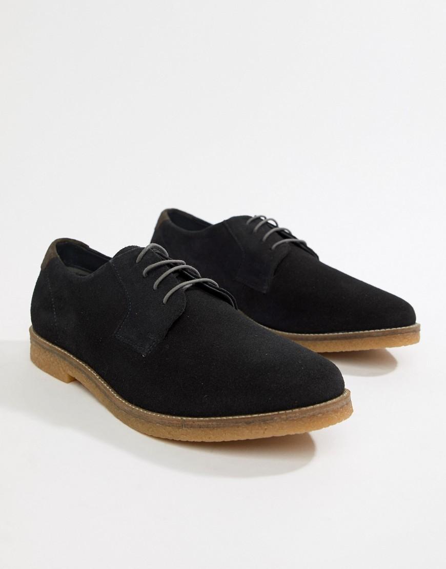 Chaussures derby en daim noires Silver Street
