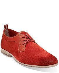 Chaussures derby en daim rouges