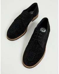 Chaussures derby en daim tressées noires H By Hudson