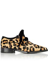 Chaussures derby en poils de veau imprimées léopard beiges