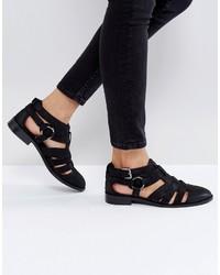 Chaussures plates en cuir noires Asos
