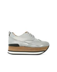 Chaussures richelieu en cuir argentées Hogan