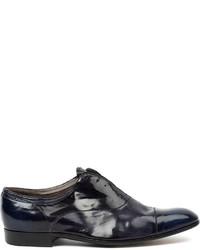 Chaussures richelieu en cuir bleu marine Premiata