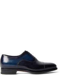 Chaussures richelieu en cuir bleu marine Santoni