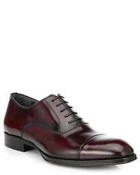 Chaussures richelieu en cuir bordeaux