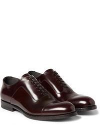 Chaussures richelieu en cuir bordeaux Alexander McQueen