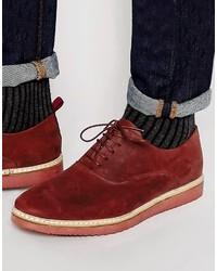 Chaussures richelieu en cuir bordeaux Asos