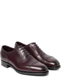 Chaussures richelieu en cuir bordeaux Edward Green
