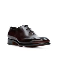 Chaussures richelieu en cuir bordeaux Santoni