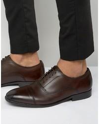 Chaussures richelieu en cuir brunes foncées Base London