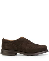 Chaussures richelieu en cuir brunes foncées Church's