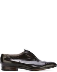 Chaussures richelieu en cuir brunes foncées Premiata