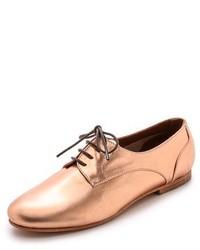 Chaussures richelieu en cuir dorées
