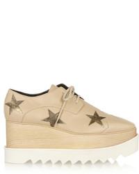 Chaussures richelieu en cuir épaisses beiges