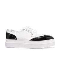 Chaussures richelieu en cuir épaisses blanches Prada