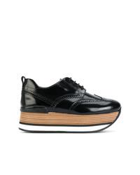 Chaussures richelieu en cuir épaisses noires Hogan