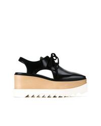 Chaussures richelieu en cuir épaisses noires Stella McCartney