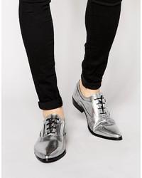 Chaussures richelieu en cuir grises Asos