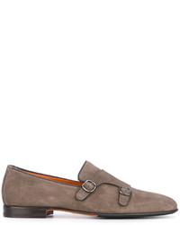Chaussures richelieu en cuir grises Santoni