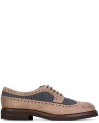 Chaussures richelieu en cuir marron clair Brunello Cucinelli
