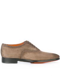 Chaussures richelieu en cuir marron clair Santoni