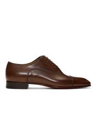Chaussures richelieu en cuir marron foncé Christian Louboutin