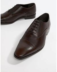 Chaussures richelieu en cuir marron foncé Dune