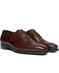 Chaussures richelieu en cuir marron foncé George Cleverley