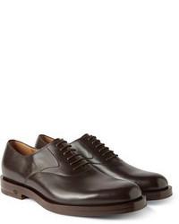 Chaussures richelieu en cuir marron foncé Gucci