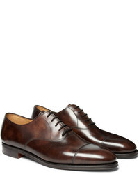 Chaussures richelieu en cuir marron foncé John Lobb