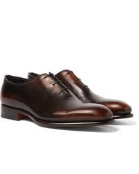 Chaussures richelieu en cuir marron foncé Santoni