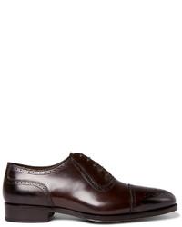Chaussures richelieu en cuir marron foncé Tom Ford