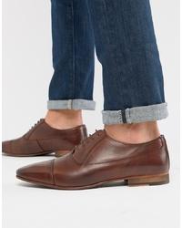 Chaussures richelieu en cuir marron foncé WALK LONDON