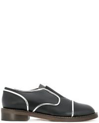 Chaussures richelieu en cuir noires Marni