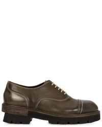 Chaussures richelieu en cuir olive